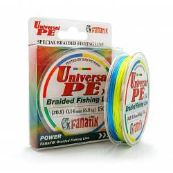 Шнур плетеный Fanatik Universal PE X4 150 m (#0,8) 0.14 mm 6,8 kg (Цветной)