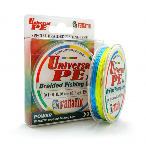 Шнур плетеный Fanatik Universal PE X4 150 m (#1,0) 0.16 mm 8,1 kg (Цветной)