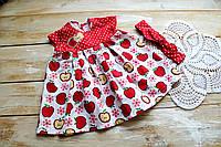 """Летнее платье для девочки + повязка """"Яблочко"""" (1-1,5 года, длина от горловины 35см, ширина в груди 26см)"""