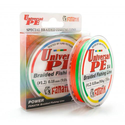 Шнур плетеный Fanatik Universal PE X4 150 m (#1,2) 0.18 mm 9,0 kg (Цветной)