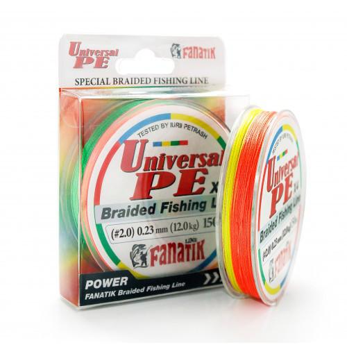 Шнур плетеный Fanatik Universal PE X4 150 m (#2,0) 0.23 mm 12,0 kg (Цветной)