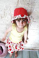 "Летняя юбка для девочки + панама ""Яблочко"" (3-4 года, длина юбки 28см, панама 46см)"