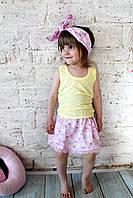 Летняя юбка для девочки и повязка (2-3года, длина юбки 23см, панама 46см)