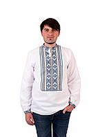 Біла чоловіча вишиванка на довгий рукав з блакито-сірим орнаментом ручної  роботи 83c31438c9448