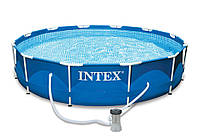 Intex 28212 (366-76 см.) + насос Синий Каркасный бассейн круглый