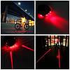 Мигалка красная задняя на велосипед + 2 лазера (Оригинальный недорогой подарок велосипедисту)