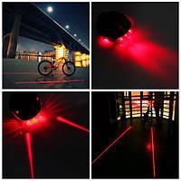 Мигалка красная задняя на велосипед + 2 лазера (Оригинальный недорогой подарок велосипедисту), фото 1