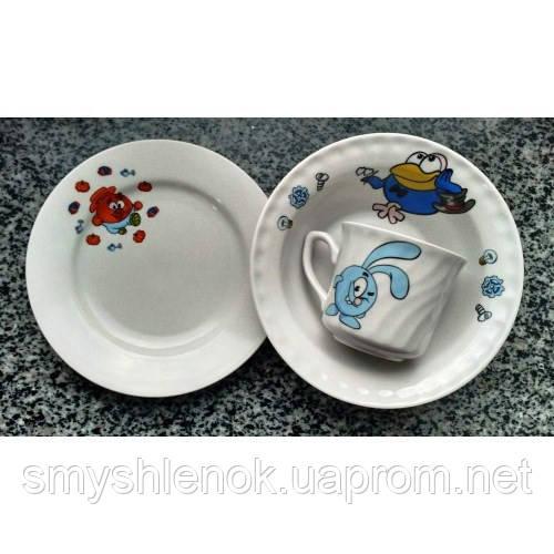 """Набор детской посуды с рисунком для детского сада, серия """"Смешарики"""", Д03"""