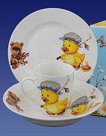 """Набор посуды с детским рисунком , """"Веселые друзья"""", Д04"""