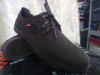 Летние мужские коричневые мокасины на шнурках Detta, фото 1