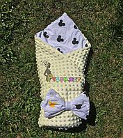 Конверт-одеяло минки на съемном синтепоне желтый, фото 1
