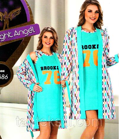 Комплект 2-ка (халат и ночная рубашка) Night Angel №7686, фото 2