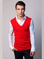Стильная обманка рубашка однотонная с трикотажной жилеткой
