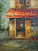 """Картина нарисована маслом на холсте ( 43 х 32 см.) """"Уличное кафе"""" ручная работа"""