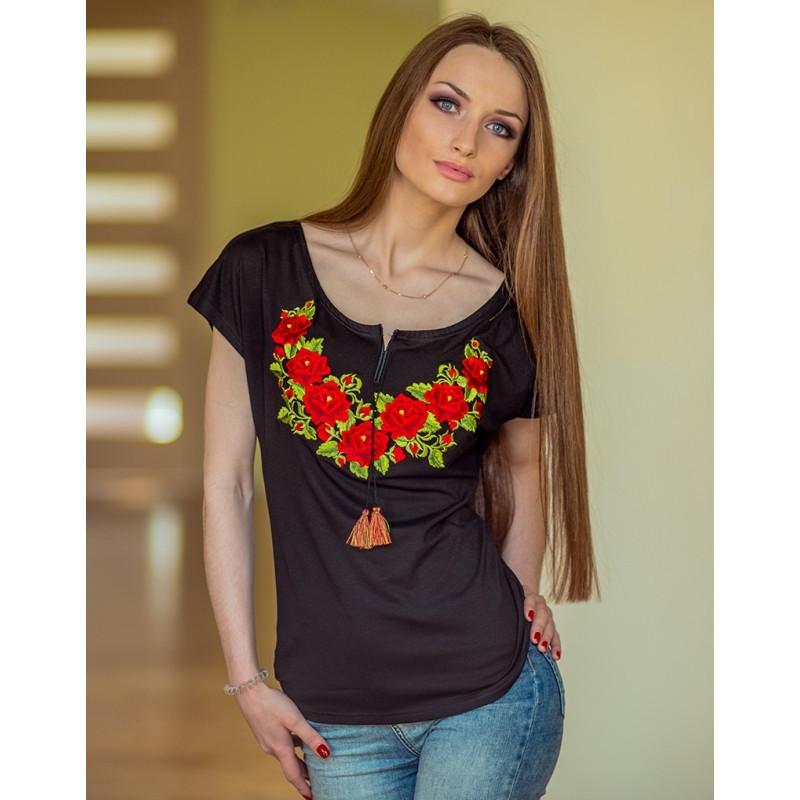 Женская Черная Этно-футболка «Польская Роза» — в Категории