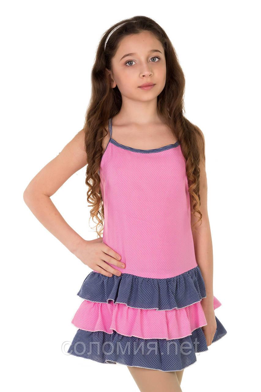 Летний сарафан-маечка с принтом в мелкий горошек  для девочек 128-158р