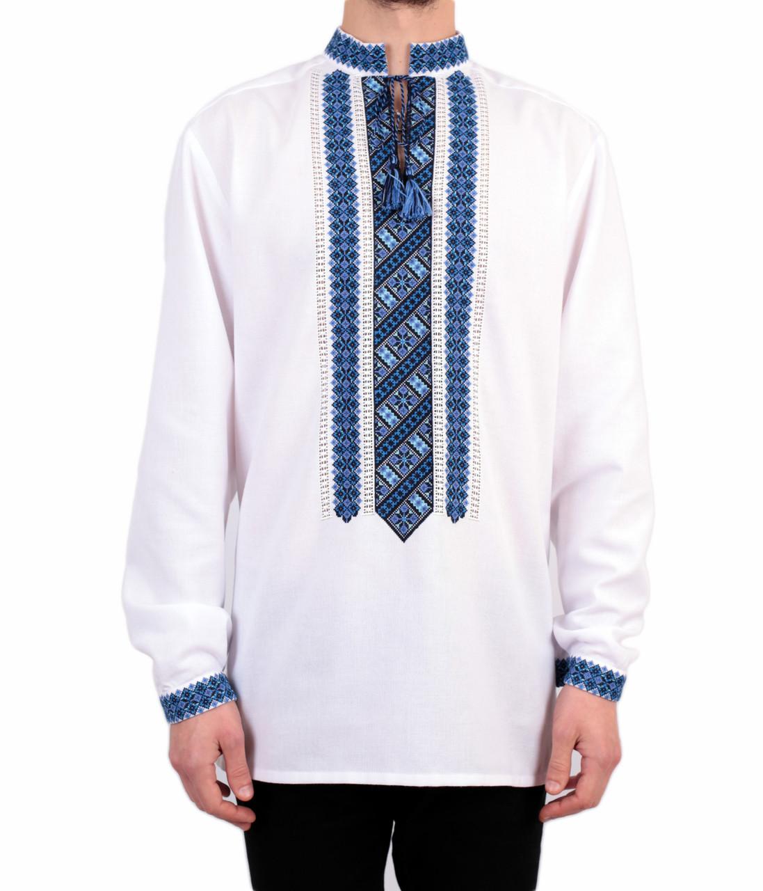 Біла чоловіча вишиванка на довгий рукав з блакитним орнаментом ручної роботи