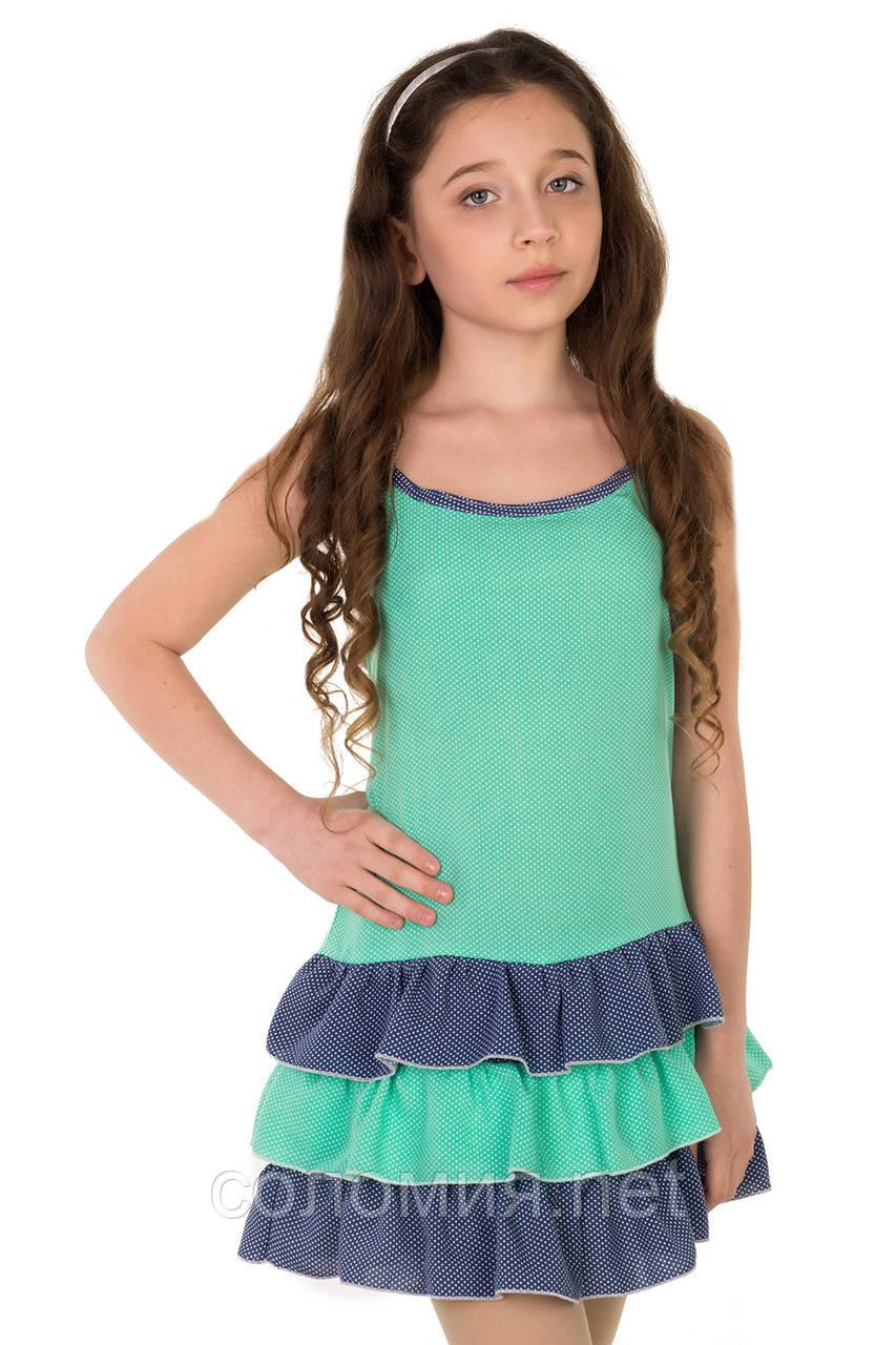 Прелестный сарафан-маечка с принтом в мелкий горошек  для девочек 128-158р