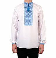 Біла чоловіча вишиванка на довгий рукав з блакитним орнаментом ручної роботи  на попліні 725c033741d57