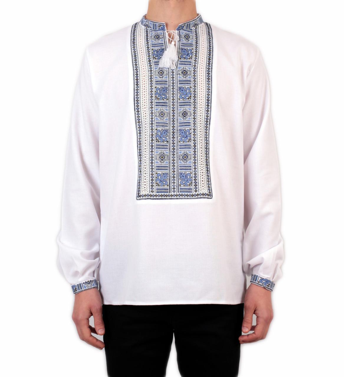 Біла чоловіча вишиванка на довгий рукав з блакитним орнаментом ручної роботи на домотканому полотні