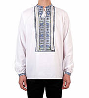 Біла чоловіча вишиванка на довгий рукав з блакитним орнаментом ручної роботи на домотканому полотні, фото 1