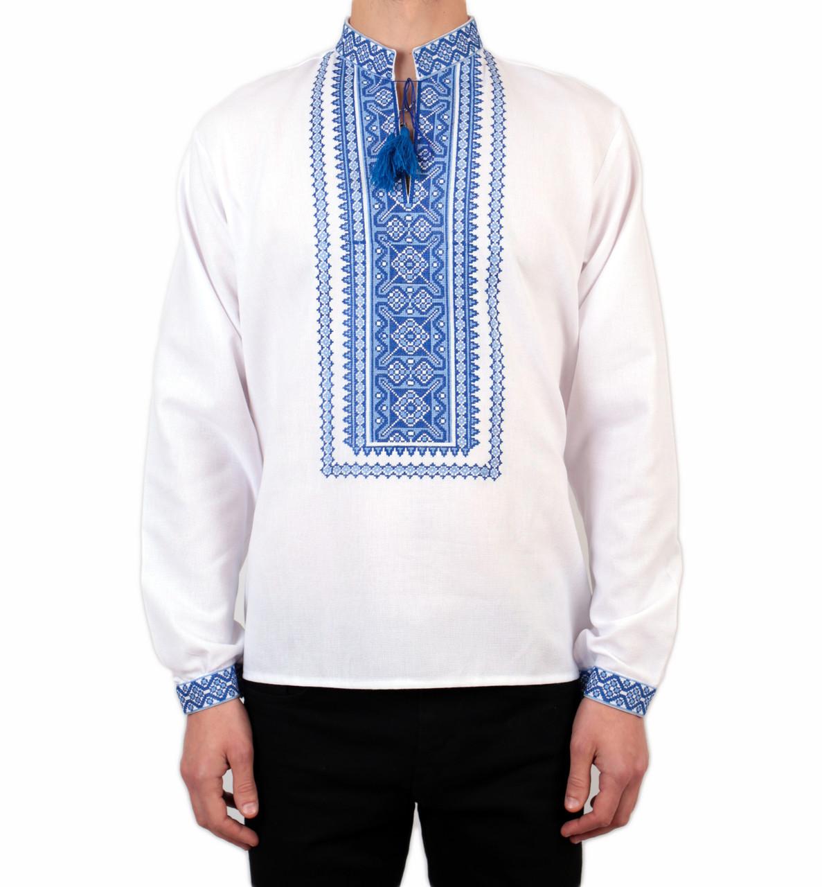 Біла чоловіча вишиванка на довгий рукав з блакитним орнаментом ручної роботи на попліні