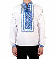 Біла чоловіча вишиванка на довгий рукав з блакитним орнаментом ручної роботи на попліні, фото 1
