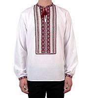 Біла чоловіча вишиванка на довгий рукав з червоним орнаментом ручної роботи на попліні, фото 1