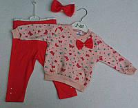Костюм Bebico штаны+кофта +повязка бабочки красный девочка