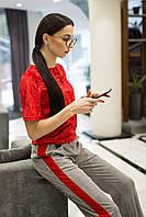 Красная велюровая футболка JADE