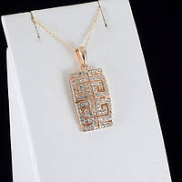Блистательный кулон с кристаллами Swarovski + цепочка, покрытые золотом 0825