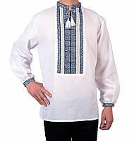 850UAH. 850 грн. В наличии. Біла чоловіча вишиванка на довгий рукав з  блакитним орнаментом ручної роботи. Інтернет-магазин ... f172afe8763a3