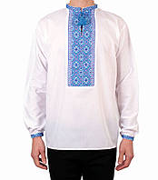 Біла чоловіча вишиванка на довгий рукав з блакитним орнаментом ручної  роботи на попліні 8492b6108ad3d