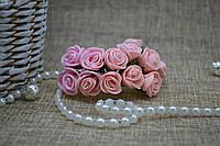 Цветок декоративный роза цв.розовый 12шт. 2000000000787