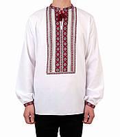 Біла чоловіча вишиванка на довгий рукав з червоним орнаментом ручної роботи, фото 1
