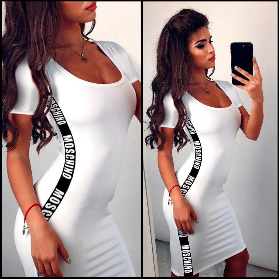 Белое платье футболка в стиле Moschino (Код MF-148)