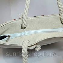 Пляжная текстильная летняя сумка для пляжа и прогулок Совушки, фото 3
