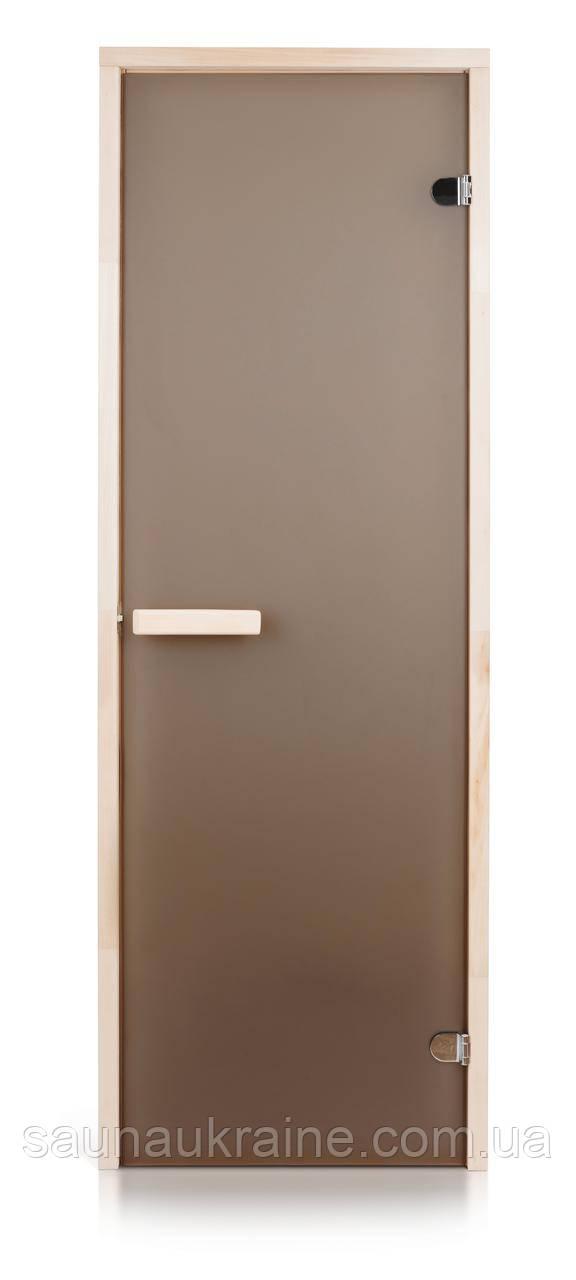 Стеклянная дверь для бани и сауны матовая бронза 70/200 липа
