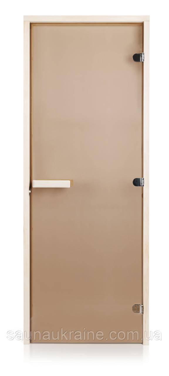 Стеклянная дверь для бани и сауны INTERCOM прозрачная бронза 80/200 липа