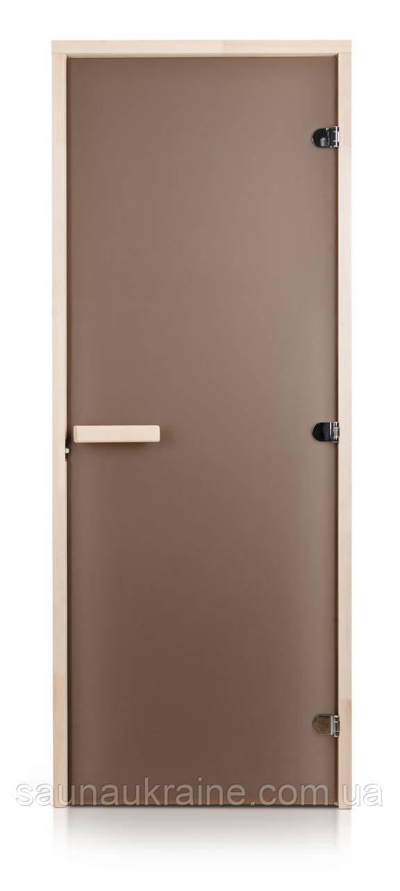Стеклянная дверь для бани и сауны INTERCOM матовая бронза 80/200 липа