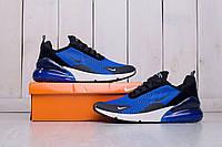 Мужские кроссовки Nike Air Max 270  синие найк- Текстильная сетка,подошва пенаразмеры:40-44 Высокое качество!, фото 1