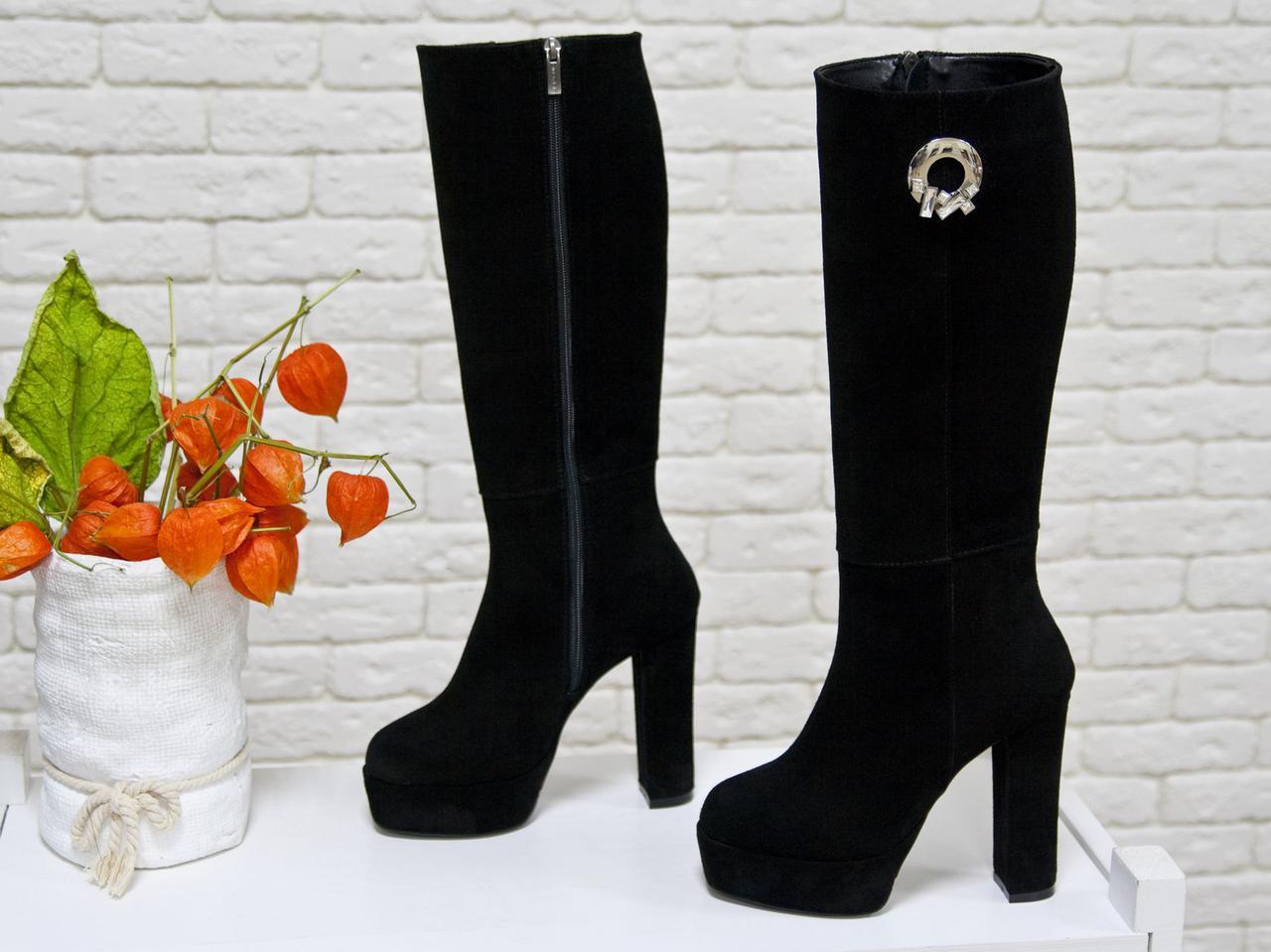 4bfd478a0 Классические женские Сапоги из натуральной нежной замши черного цвета на  высоком обтяжном каблуке, Коллекция Осень