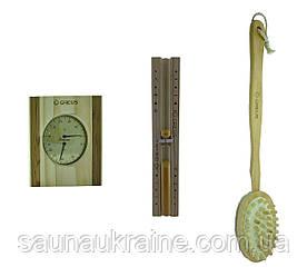 Подарочный набор для бани песочные часы, термогигрометр , щетка массажная  для бани и сауны