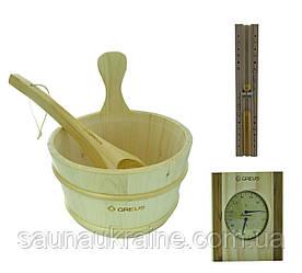 Подарочный набор для сауны песочные часы, термогигрометр , набор шайка + черпак  для бани и сауны