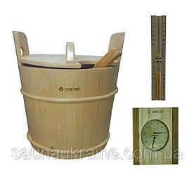Комплект для сауны песочные часы, термогигрометр , запарник  для бани и сауны