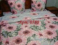 Комплект постельного БЯЗЬ оптом и в розницу, Розовые герберы на сером 0780