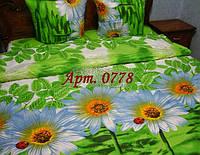 Комплект постельного БЯЗЬ оптом и в розницу, Ромашка+Божья коровка, на ярком зеленом фоне