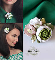 """Заколка/брошь с цветами из полимерной глины """"Ранунклюс с тюльпаном и розой"""", фото 1"""