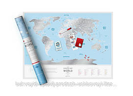 Скретч Travel Map Скретч карта світу Travel Map Silver World (тубус)