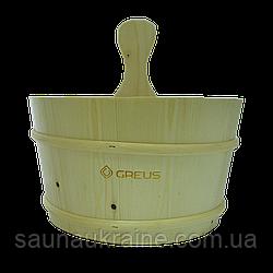 Шайка Greus сосна 4 л с пластиковой вставкой для бани и сауны